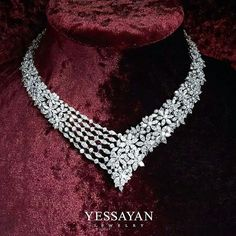 @yessayan. A Flower Field that Covers the neck in Diamonds #Yessayan #Necklace #Flowers #Diamond