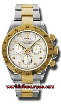 116523-MA - This Rolex Oyster Perpetual Cosmograph Daytona Mens Watch, 116523-MA features 40 mm Stainless Steel case, Mother of pearl dial, Sapphire crystal, Fixed bezel, and a 18K Yellow gold bracelet. Rolex Oyster Perpetual Cosmograph Daytona Mens Watch, 116523-MA also features Automatic movement, Analog display. This watch is water resistant up to 100m/330ft. - See more at: http://www.worldofluxuryus.com/watches/Rolex/Daytona/116523-MA/641_645_6533.php#sthash.XXfsUCP1.dpuf