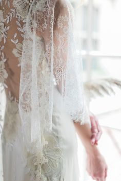 Embroidered lace butterfly sleeve wedding dress: http://www.stylemepretty.com/2016/10/21/claire-pettibone-2017-wedding-dresses/ Photography: Judy Pak - http://judypak.com/