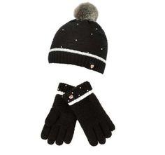 0368dda39105 Details about Ted Baker Girls Hat Gloves Black Pearls Designer Age 3-6 Years