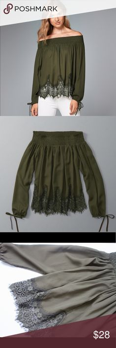 Abercrombie & fitch Off-the-shoulder Peasant top NWOT Abercrombie & fitch Off-the-shoulder Lace Hem Peasant Top in olive green. Abercrombie & Fitch Tops