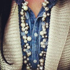 chloe + isabel - this Pearl + Crystal Drops Long Necklace goes with so many of my outfits! Follow the link for purchase. $68 https://www.chloeandisabel.com/products/N012/lotus-pearl-and-crystal-chanel-drops-necklace?m=staceythomas