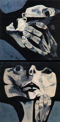 Homenaje a la Muerte del Che Serie de cuadros, de los cuales lastimosamente solo alcanzo a pintar dos, como tributo a ese joven revolucionario, enemigo de la violencia y de profundos ideales, quien dio su vida por un mundo más igualitario. Óleo sobre tela 122 x 122 cm c/u