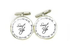 Suit Up Personalized Initials Cufflinks Customize by abellagift