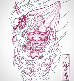 👹 would be a killer forearm piece or even thigh/calves ! itd be b&g obviously not pink lol shoot me a message if ur interested Hannya Mask Tattoo, Hanya Tattoo, Demon Tattoo, Samurai Tattoo, Yakuza Tattoo, Japanese Mask Tattoo, Japanese Tattoo Symbols, Japanese Tattoo Designs, Japanese Sleeve Tattoos