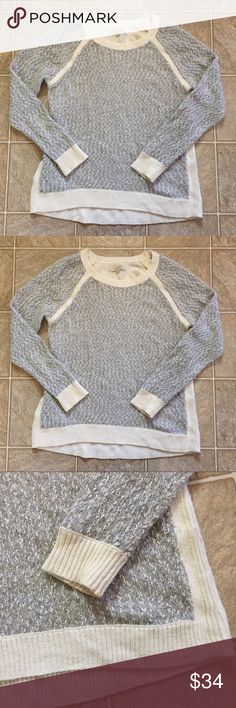 Loft Grey white cozy pullover sweater Gray sweater with white contrast trim for minimal, chic look. Size XL. LOFT Sweaters Crew & Scoop Necks