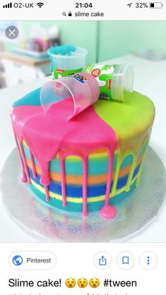 Cake idea for a child's birthday slime party 10 Birthday Cake, 9th Birthday Parties, 7th Birthday Party For Girls Themes, Birthday Cakes Girls Kids, Colorful Birthday Party, Birthday Fun, Birthday Gifts, Girl Cakes, Party Cakes