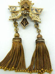 Antique Enamel 14k Gold Pearls Victorian Pin Brooch  | eBay