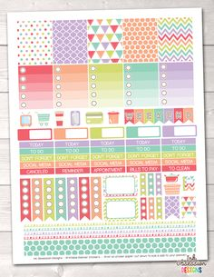 Sugar Collection Printable Planner Stickers Weekly Kit – Instant Download PDF for your Erin Condren Life Planner