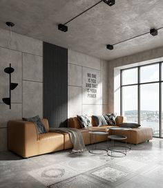 O toque de cor desta sala de estilo industrial era o sofá de caramelo - Arquitetura e Design de Interiores - Loft Interior Design, Industrial Interior Design, Loft Design, Home Interior, Interior Design Living Room, Modern Interior, Living Room Designs, Living Room Decor, Interior Architecture