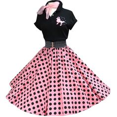 New Skirt Outfits For Teens Schools Polka Dots Ideas Sock Hop Outfits, Lila Outfits, Skirt Outfits, Outfits For Teens, Cute Outfits, Mode Rockabilly, Rockabilly Fashion, 1950s Fashion, Vintage Fashion