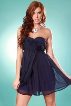 667a2bd6630 NAVY STRAPLESS CHIFFON MESH PETAL RUCHED SEXY MINI DRESS   Sexy Clubwear
