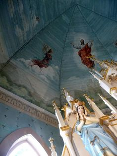 """The """"Painted Churches"""" are a collection of 19th century churches in Central Texas. They were built by the Czech and German immigrants. The exteriors seem pretty plain, but the colorful interiors are beautifully painted."""