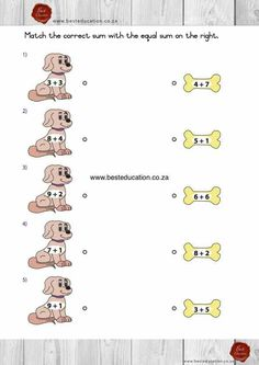 Matching sums - English Maths Grade 1 - www.besteducation.co.za Fun Math, Maths, Romantic Night, Afrikaans, Grade 1, Education, Teacher, English, Slim