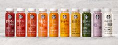 Starbucks Juice & Yogurt on Behance Yogurt Packaging, Juice Packaging, Beverage Packaging, Brand Packaging, Packaging Design, Coffee Cafe, Starbucks Coffee, Kombucha, Vitamin C Drinks