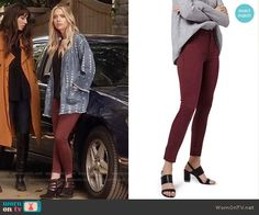 Hanna's burgundy jeans on Pretty Little Liars.  Outfit Details: https://wornontv.net/58476/ #PLL  Buy them here: http://wornon.tv/36821