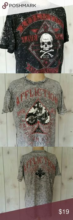 """Affliction Reversible Tee American Custom Skull This one shirt that is reversible. One side is black with skull and flip it inside out to the grey with spade and girl. Collar is distressed. size medium mens. Chest straight across at armpits 20-1/4"""", length from top of shoulder to bottom hem 28-1/2"""". These are new with tags. Retail for $80. My sale price is firm. Bundle to save. Lots of great gift ideas in my closet.   CT5 Affliction Shirts Tees - Short Sleeve"""