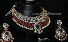 Jewellery Designs: 2 Rows Ruby Polki Set and Chandbalis
