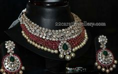 Jewellery Designs: 2 Rows Ruby Polki Set and Chandbalis