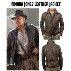 PLG Mens Indiana Jones Harrison Ford Brown Genuine Real Leather Jacket