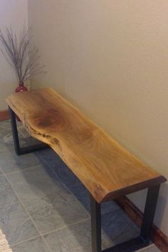 Elegant live edge walnut bench suitable for a bedroom, entryway, or dining area. Live Edge Wood, Live Edge Table, Live Edge Furniture, Diy Furniture, Rustic Wooden Bench, Diy Bench, Build A Bench, Live Edge Shelves, Walnut Dining Table