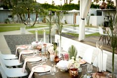 L'Horizon Restaurant and Spa modern wedding venue. Blush, black, and white wedding. Black and white checkered dance floor. Modern Wedding Venue, Wedding Venues, Palm Fronds, Table Settings, Spa, Blush, Roses, Copper, Restaurant