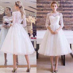 Modest Sheer Lace Bohemian Wedding Dresses 2017 Long Sleeves Vestidos De Novia Tea Length Handmade Bridal Gowns Free Shipping