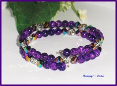 Purple/Purple AB helix glass beads Memory Wire Bracelet ~ 1 size fits most ~ NEW!