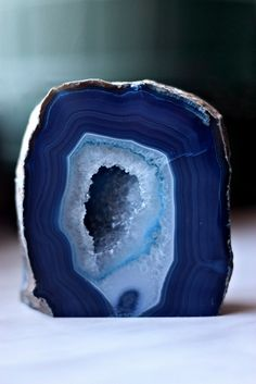 blue geode. The chalcedony/ agate ha been dyed to achieve this color. Brazilian.