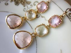 Champagne Peach Pink Citrine Earrings Gold Blush - Bridesmaid Earrings - Wedding Earrings - Wedding Jewelry. $42.00, via Etsy.