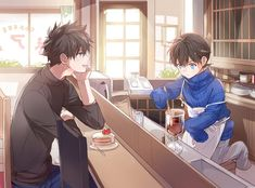 shinichi x kaito Magic Kaito, Dc Anime, Kawaii Anime, Manga Anime, Super Manga, Detective Conan Shinichi, Anime Siblings, Kaito Kuroba, Detective Conan Wallpapers