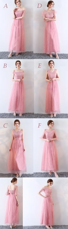 SPARKLY PEACH TULLE MISMATCHED FOR TEENS LONG A-LINE LACE UP BACK PARTY PROM GOWN DRESSES. DB1030
