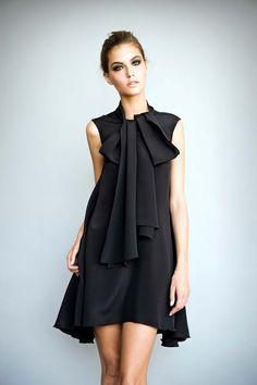 black ribbon/ruffles dress
