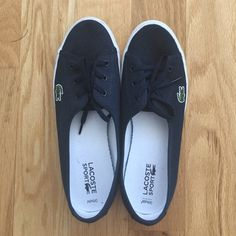 Lacoste Navy blue canvas Worn only once, comes boxed Lacoste Shoes Athletic Shoes
