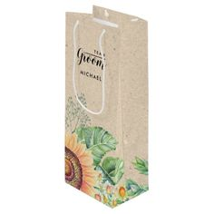 Sunflower Craft Paper Wine Bags - paper gifts presents gift idea customize Personalized Gift Bags, Personalized Wedding Favors, Diy Wedding Favors, Wedding Cards, Country Wedding Gifts, Rustic Wedding, Tropical Wedding Decor, Sunflower Crafts, Team Groom