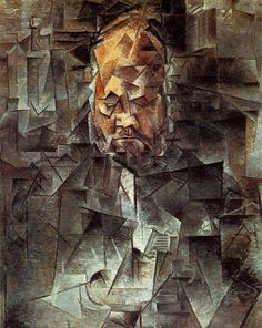 Portrait of Ambroise Vollard, 1910 by Pablo Picasso.  In Portrait of Ambroise Vollard, Vollard's downcast eyes, apparently closed, the massive explosion of his bald head, multiplying itself up the painting like an egg being broken open, his bulbous nose and the dark triangle of his beard are the first things the eye latches on to. They are recognizable. At least that's the way your mind, through habit, composes the details into information.