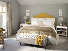 Check out the before and afters of this gray and yellow bedroom. Great color combo, too! #hgtvmagazine http://www.hgtv.com/bedrooms/wake-up-your-bedroom/pictures/page-3.html?soc=pinterest