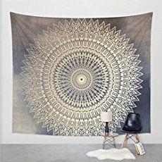 Goldbeing indischer Wandteppich Wandbehang Mandala Tuch Wandtuch Gobelin Tapestry Goa Indien Hippie-/ Boho Stil als Dekotuch /Tagesdecke indisch orientalisch psychedelic (150 x 130cm)