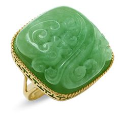 Lab-Created Green Quartz Carved Dragon Ring in 14K Gold - Size 7 - Clearance - Zales