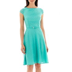 jcp | Black Label by Evan-Picone Cap-Sleeve Belted Lace Dress