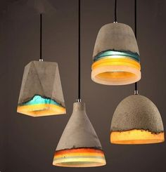 Retro rainbow colours resin cement design art cement Pendant Light vintage lampe ciment  luminaria pendente industrial for deco
