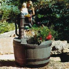 Whiskey Barrel Garden Fountains