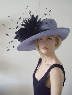 Lavender Navy Feathered Side Sweep Hat from Dress-2-Impress Hat Hire