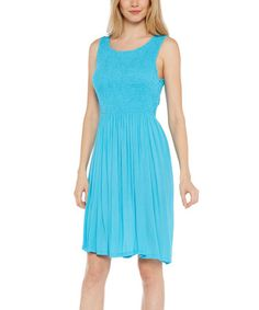 Look at this #zulilyfind! Turquoise Shirred Sleeveless Dress #zulilyfinds