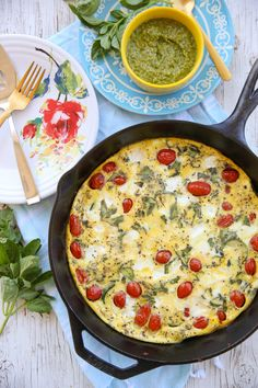 Easy Frittata Recipe: Zucchini Caprese Frittata served on Fiesta® Floral Bouquet Dinnerware | Our Best Bites