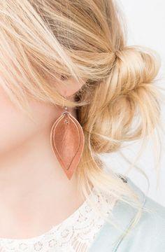 Leather Double Leaf Earrings in Metallic Gold
