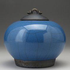 Blue  Raku ceramic Jar with lidRaku Fired Covered by DavisVachon, $85.00