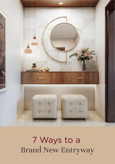 Transform the entryway to your house with these simple but effective ideas! Home Entrance Decor, Entrance Design, Entryway Decor, Entrance Foyer, House Entrance, Bedroom Furniture Design, Home Decor Furniture, Home Room Design, Home Interior Design