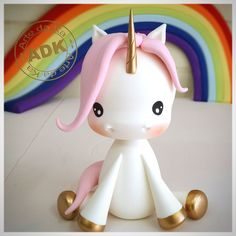 Risultati immagini per Visitar DIY - Unicórnio Kawaii em Biscuit *--* Biscuit, Fondant Animals, Fondant Toppers, Fondant Tutorial, Unicorn Birthday Parties, Birthday Cake, Sugar Art, Cute Cakes, Clay Projects