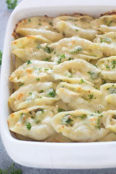 Chicken and Broccoli Alfredo Stuffed Shells include tender pasta shells filled with a cheesy shredded chicken and broccoli mixture and smothered in an easy homemade alfredo sauce. There are two things I can't get enough of during my pregnancy so far: cheese, and pasta! I can't tell you how many times my sweet husband has made... Read More »